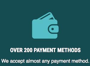 200 betalningsmetoder