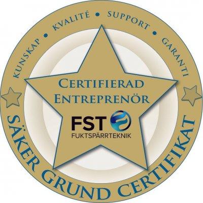 Vi är certifierade inom fuktspärrsteknik.