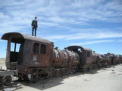Me on a train in Bolivia