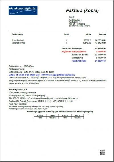 Faktura kopia Rot Rut betalas av skattemyndighet