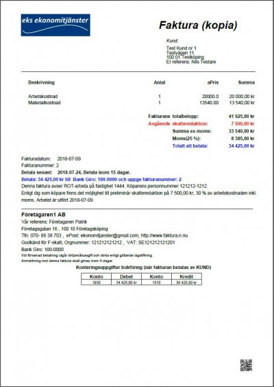 Faktura kopia Rot Rut betalas av kund