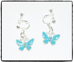 Clips - Emaljerade fjärilar (blå el. grön)