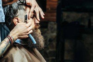 rakning, skägg, barberare