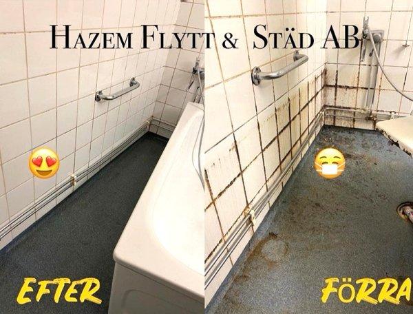 En före och efter bild av en flyttstädning i Västerås.