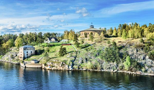 vacker vy över Fredriksborg på Värmdö