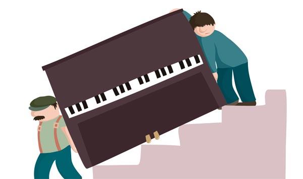 flytta piano, tunga lyft