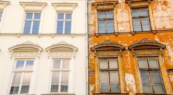 nya fönster gammal fasad
