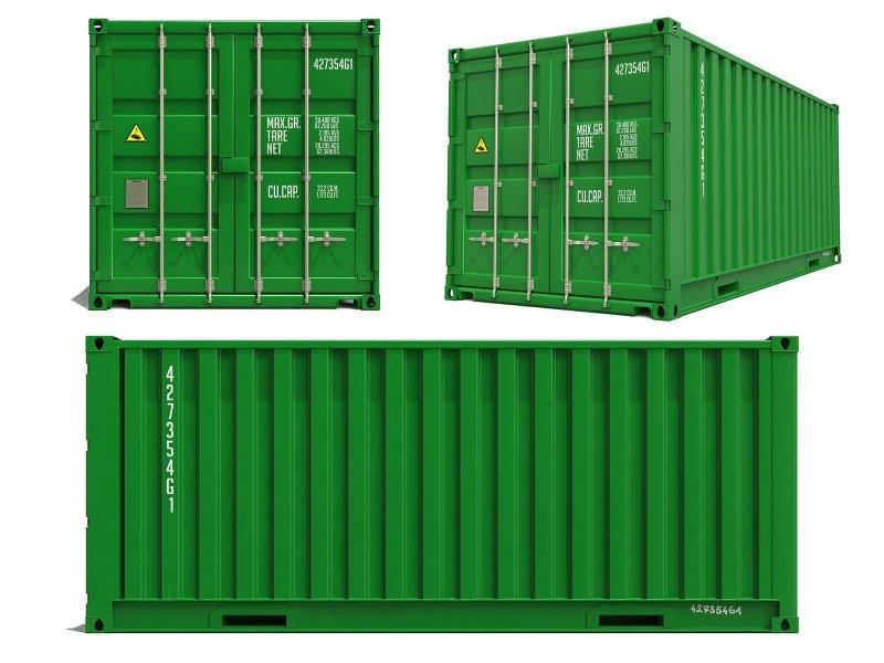 En grön container avsedd för frakt.