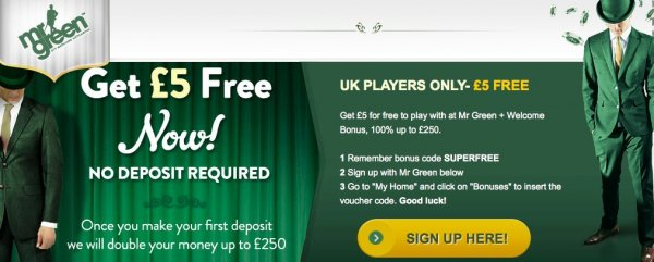 Free bonus with no deposit at MrGreen!