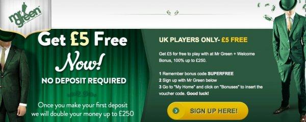 Free bonus with no deposit at MrGreen!