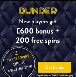 Dunder casino bonus offer