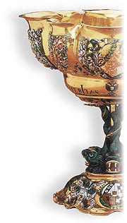 PHOTO: Gold cup with enamel decorration, Germany, dated 1665