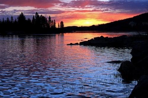 Solnedgång över Volgsjön