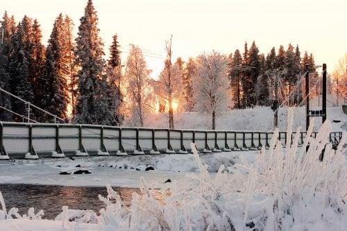Vinterdag vid hängbron