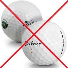 Refinished golfbollar rekommenderas ej