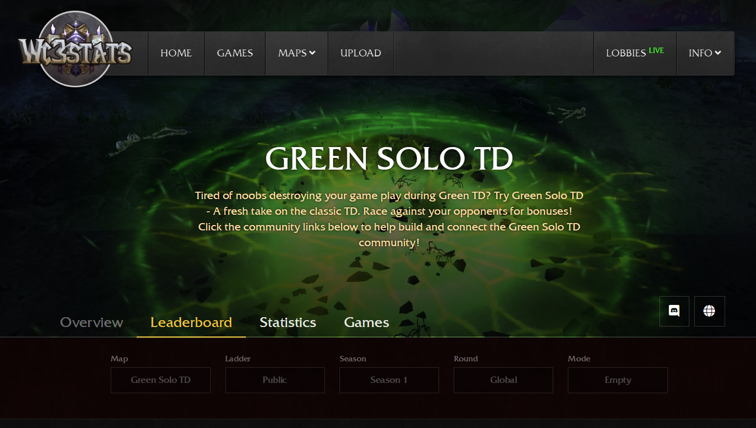 Green Solo TD Rankingsystem and leaderboard on wc3stats.com/green-solo-td