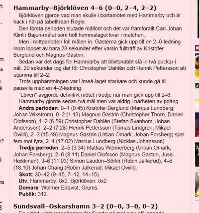 Hammarby Ishockeys sista match
