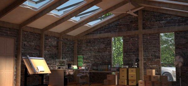 hemmakontor med takfönster