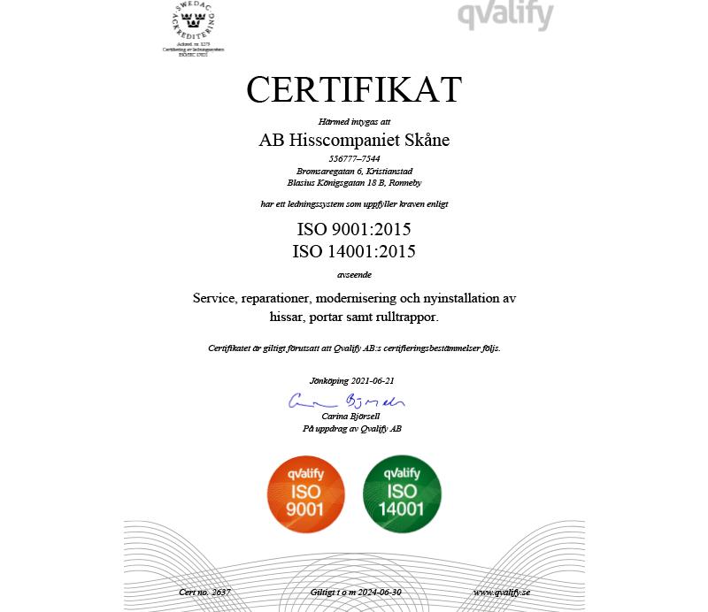 Certifikat. Hissar i Skåne.