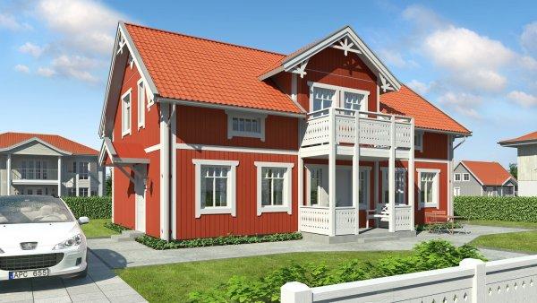 Traditionellt röd husmodell