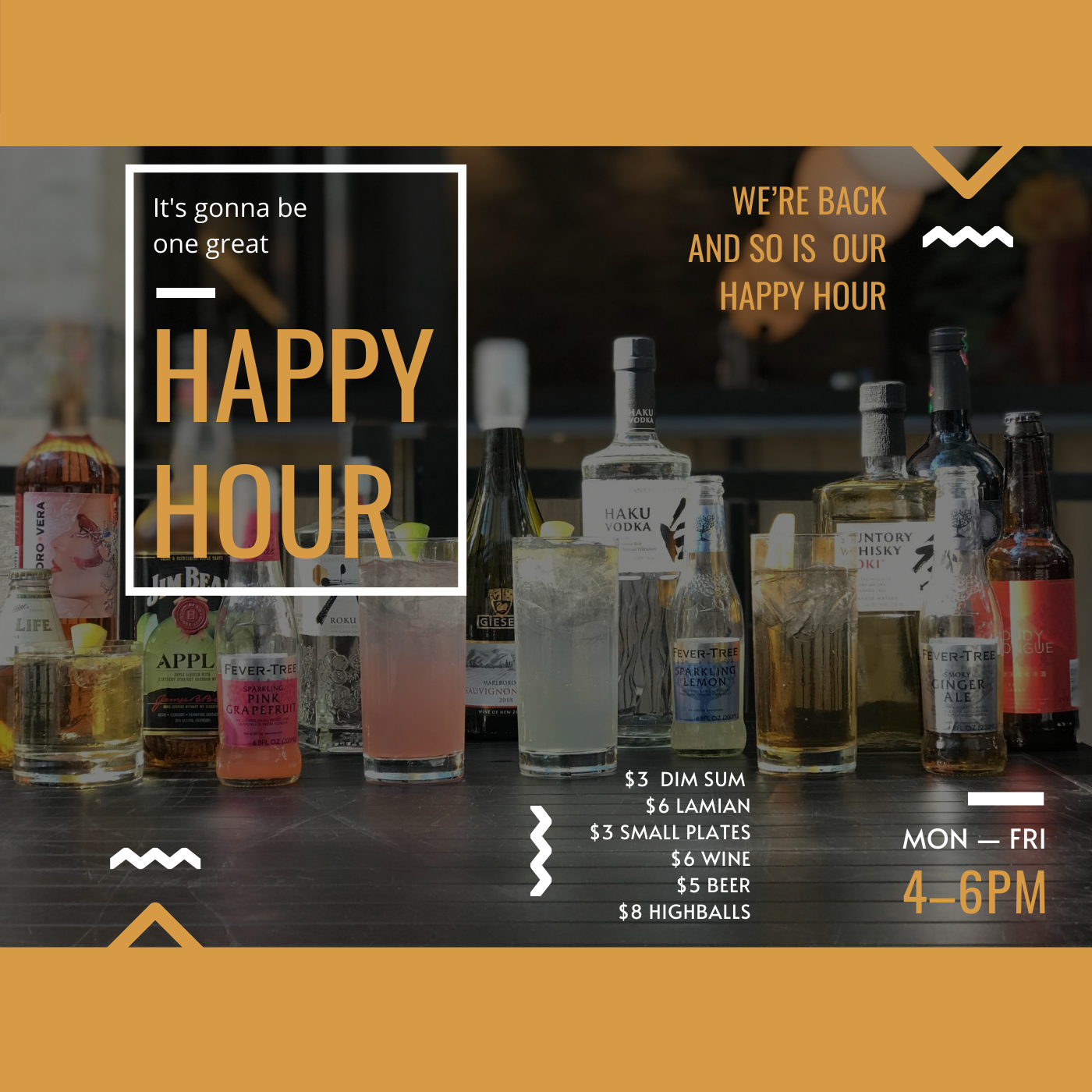 ALL NEW HAPPY HOUR MENU - We are so excited to announce that Imperial Lamian is back and with us we bring our all NEW Happy Hour!•$3 Dim Sum•$6 Lamian •$3 Small Plates•$6 Wine•$5 Beer• $8 Suntory Highballs
