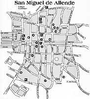 San Miguel de Allende Map of the streets in Historic center of San Miguel de Allende