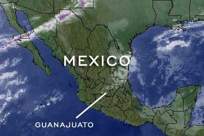 satellite map of mexico with states outlined