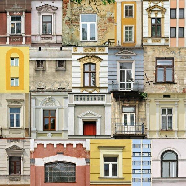 Kollage av många olika fönster