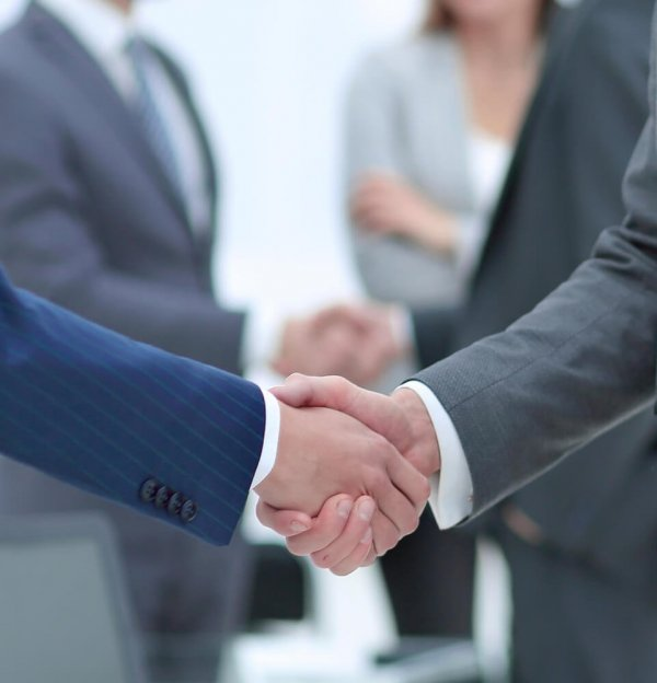 Två händer möts i ett handslag