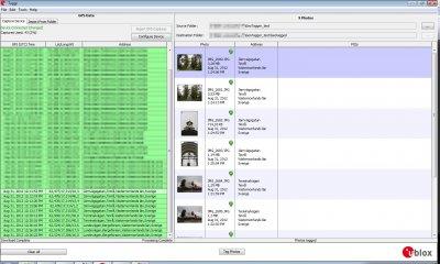 Skärmbild från Taggr, program som medföljer Geo Tagger