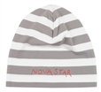 Nova star Striped Beanie Grey