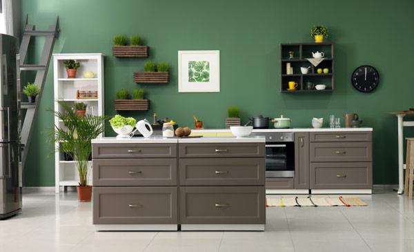 kök med gröna väggar och grå köksluckor