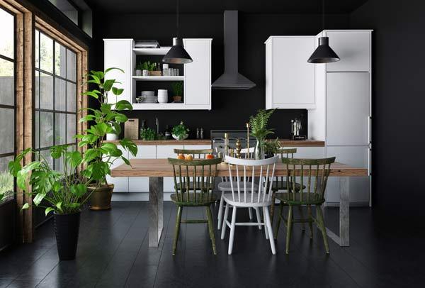 modernt kök i svart och vitt
