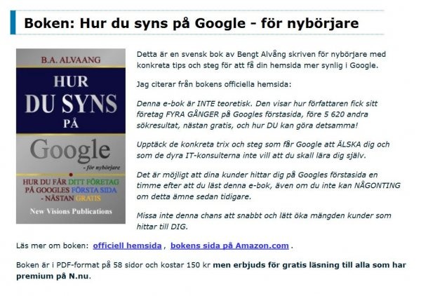 Att synas på Google