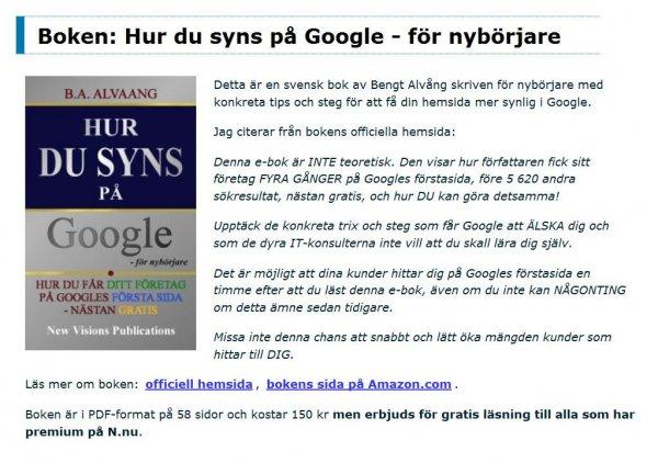 Google SEO med N.nu Hemsida