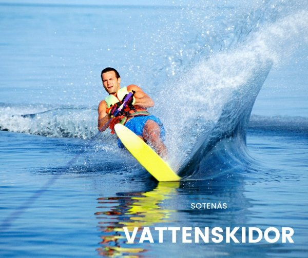 Åka vattenskidor och skateboard.