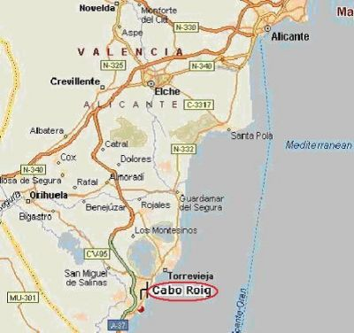 Karta Fran Alicante Till Torrevieja.Kartor Lagenhetispanien