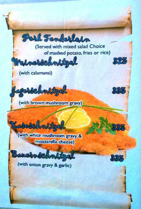 Menu Port tenderloin Wienerschnitzel