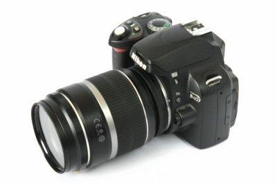 Nikon med reverseringsring, Canon-objektiv, macroring och UV-filter