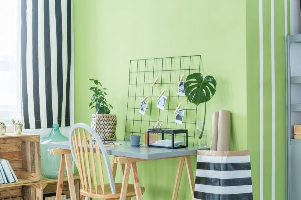 nymålat grönt rum