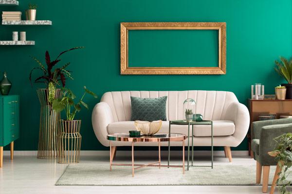 grönt vardagsrum