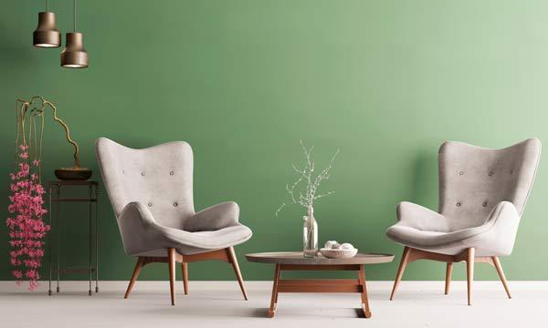 grönt vardagsrum, trendigt 2019