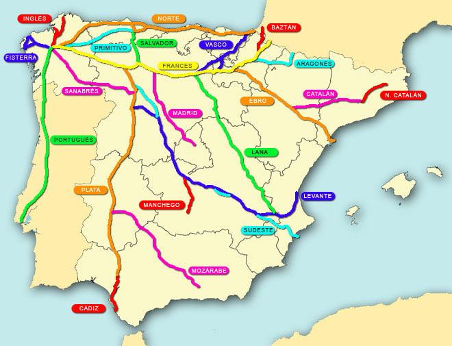 mapa de rutas del Camino de Santiago en España
