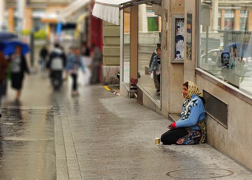 Street Beggar in Lausanne