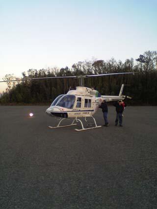 ヘリコプターに乗る