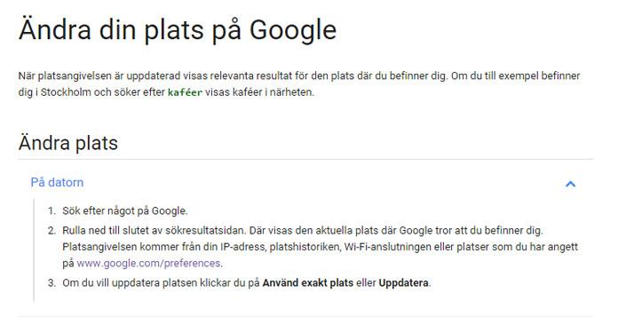 Googles anvisningar för plats sök
