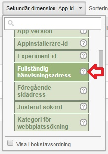 fullständig hänvisningsadress och URL i google analytics för att se var besökarna kommer ifrån