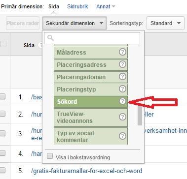 sökord för enskilda sidor i google analytics