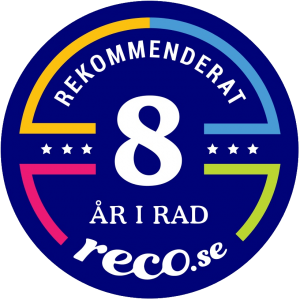 Rekommenderat 8 år i rad på Reco.se.