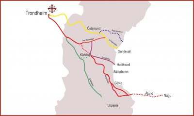 Routes of Saint Olav Ways in Central Sweden